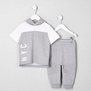 Mini - Joggingoutfit met grijze gemêleerde hoodie voor jongens