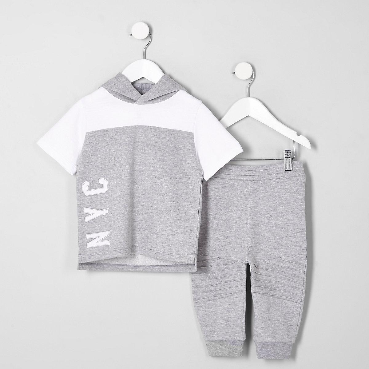 Ensemble pantalon de jogging et sweat à capuche gris chiné mini garçon