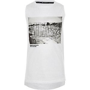 Wit hemdje met 'Miami'-reliëfprint voor jongens