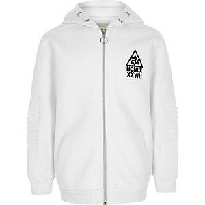Boys white 'MCMLX' biker detail hoodie