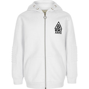 Boys white biker detail tracksuit hoodie