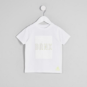 Mini boys white 'Brnx' crackle print T-shirt