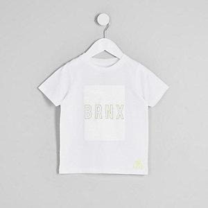 Mini - Wit T-shirt met verbriokkelde 'Brnx'-print voor jongens