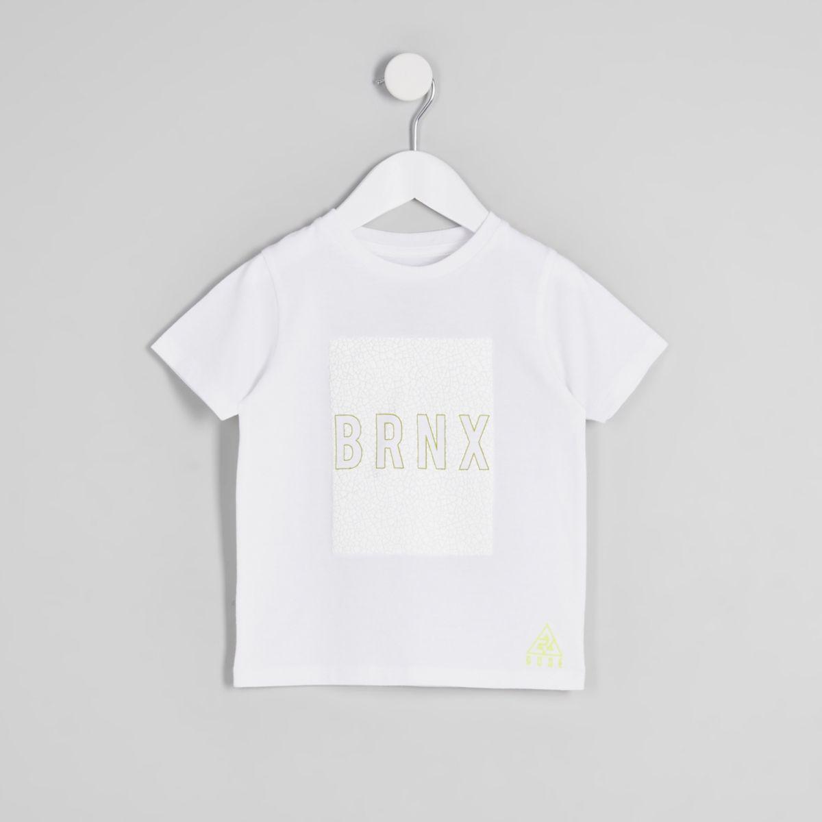 Mini boys white 'Brnx' crackle print T-shirt