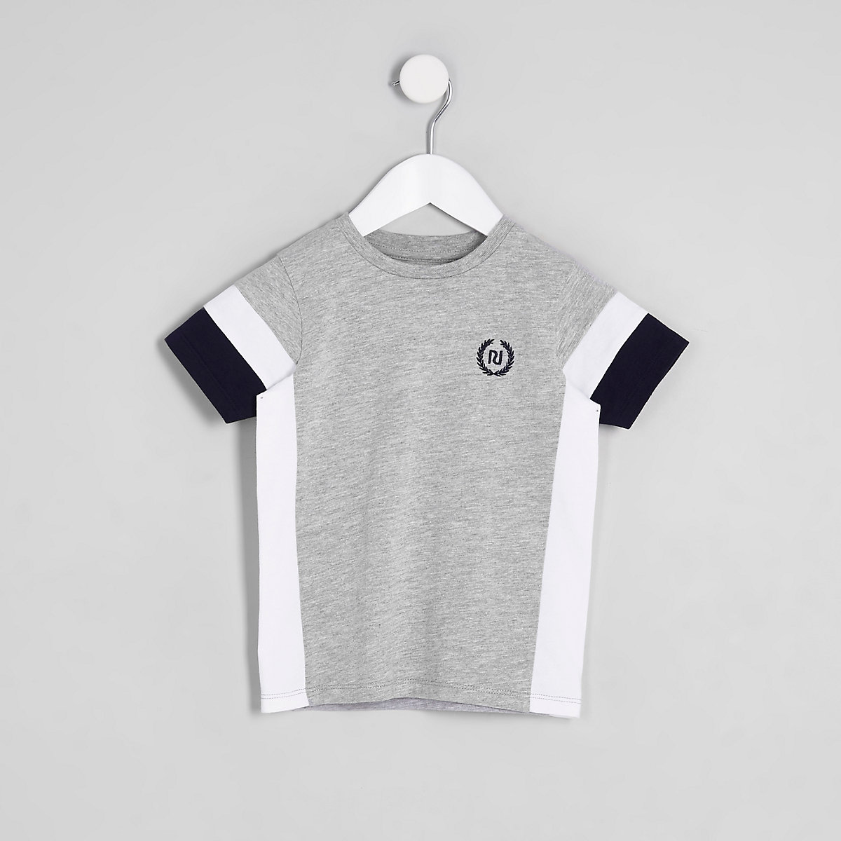 Mini boys grey colour block RI T-shirt