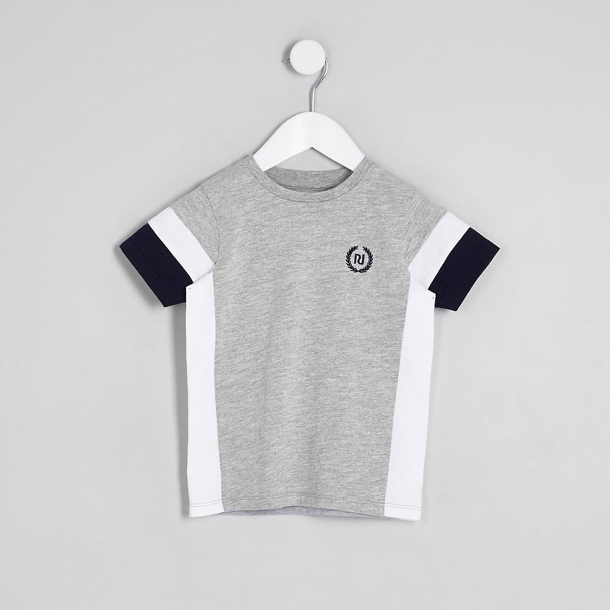 Mini boys grey color block RI T-shirt