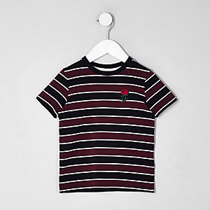 Mini boys burgundy stripe rose T-shirt