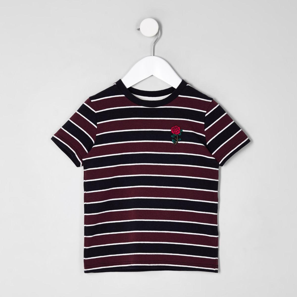 Mini boys burgundy stripe rose T-shirt