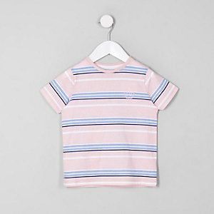 Mini boys pink stripe crew neck T-shirt