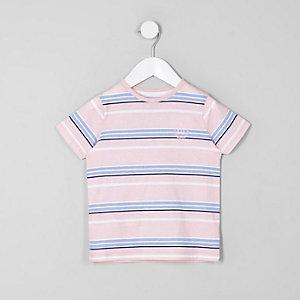 Mini - Roze gestreept T-shirt met ronde hals voor jongens
