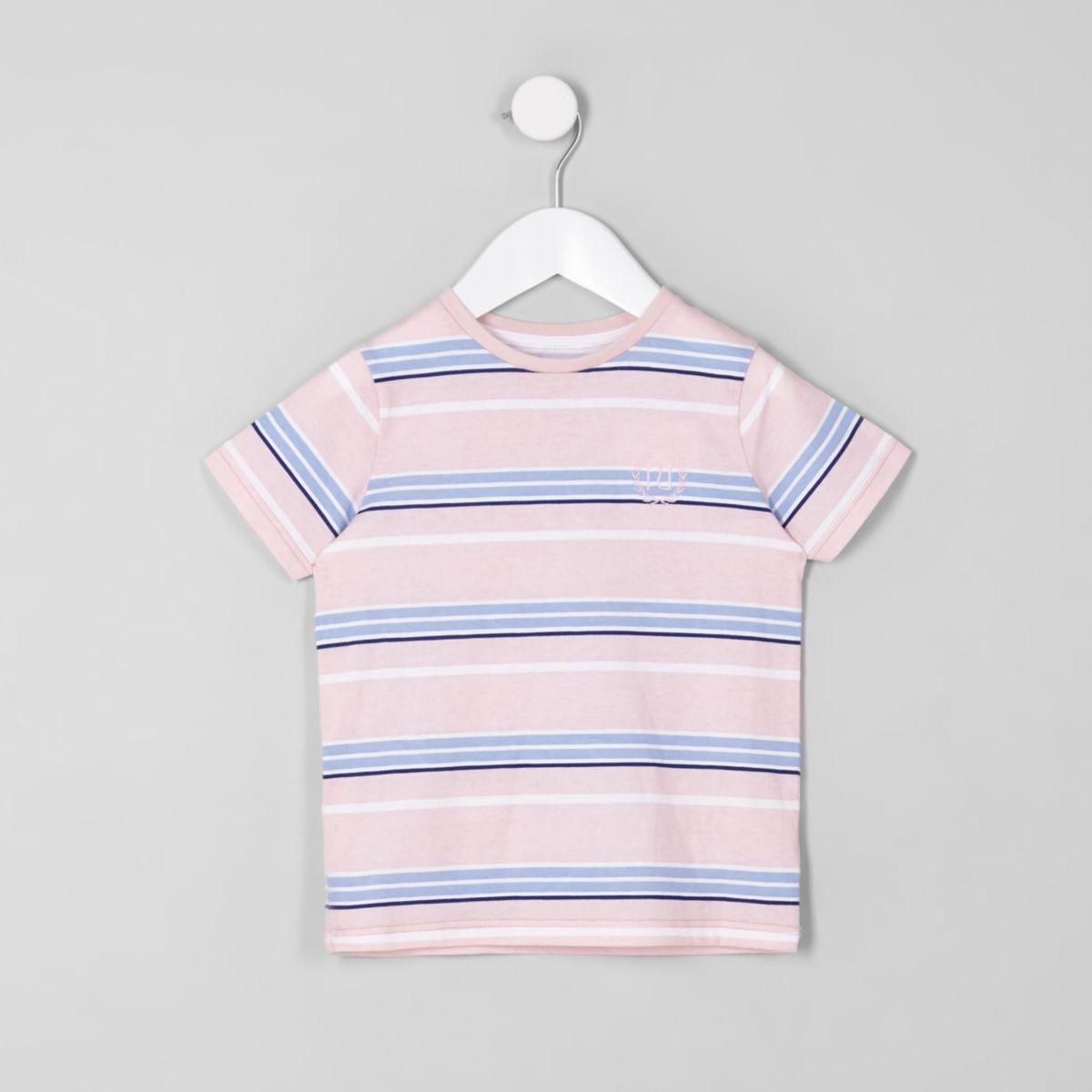 Mini boys pink stripe crew neck T-shirt