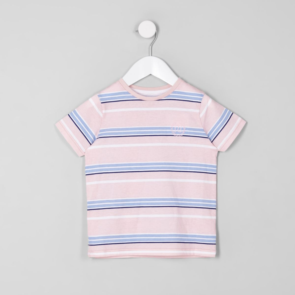 T-shirt rayé rose ras-du-cou mini garçon