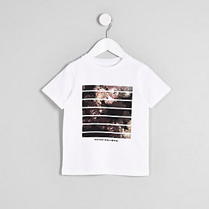Mini boys white 'vive el dia' print T-shirt