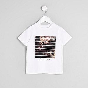 Mini boys white 'vive el dia' print T-shirt