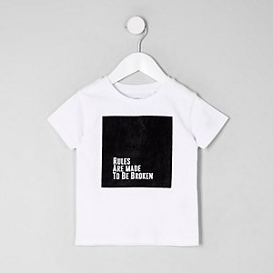 Mini boys white velvet block T-shirt