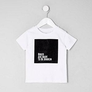 Mini - Wit T-shirt met fluwelen vierkant voor jongens
