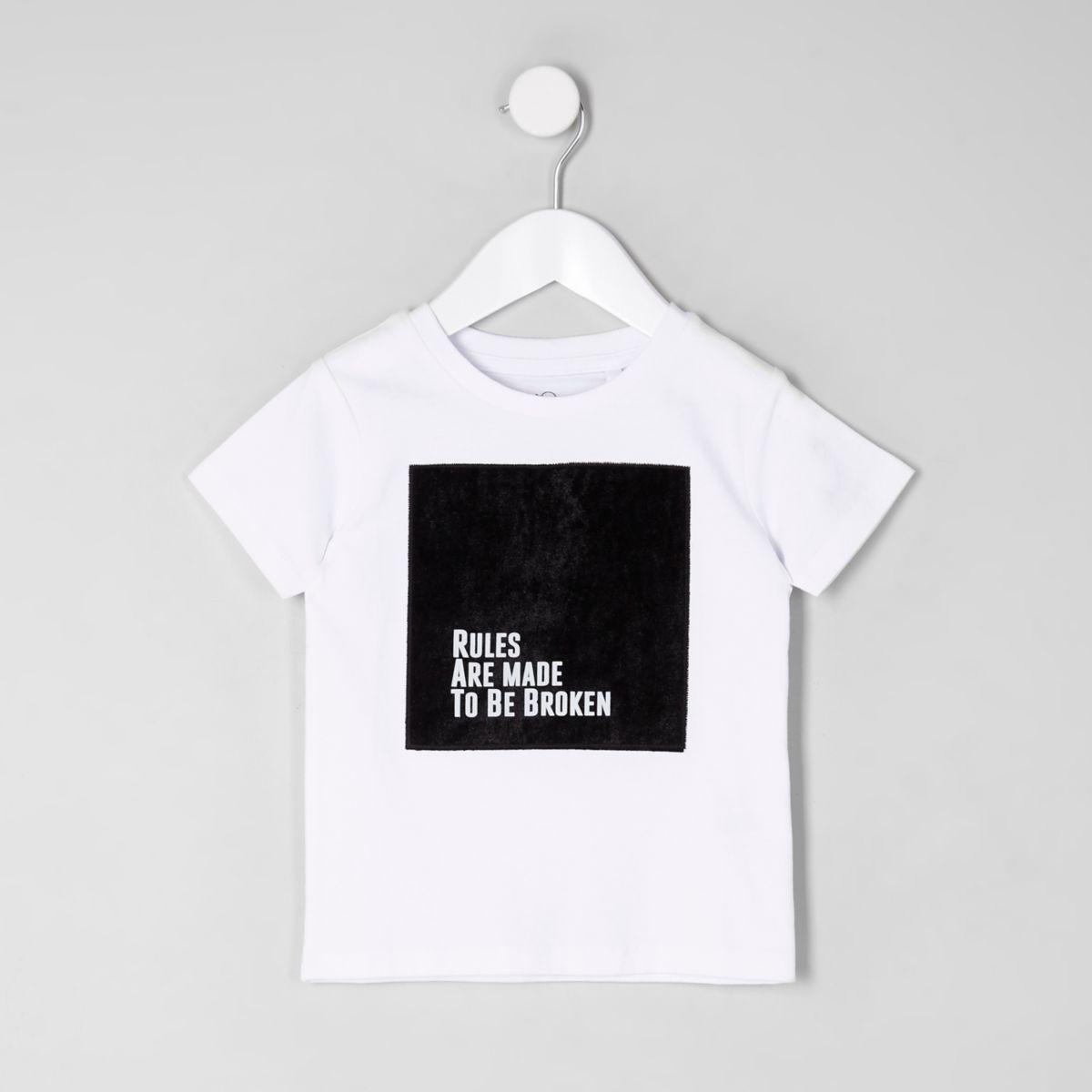 T-shirt blanc avec empiècement en velours mini garçon