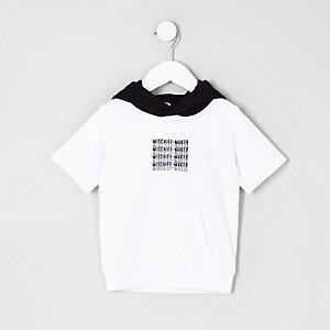 Mini - Witte hoodie met korte mouwen voor jongens