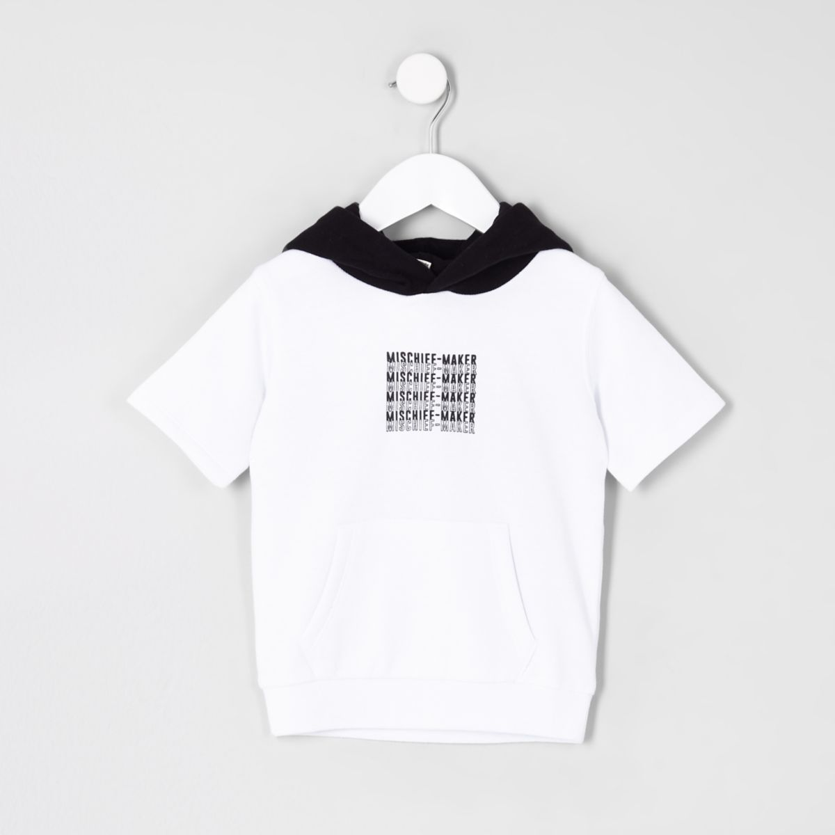 Mini boys white short sleeve hoodie
