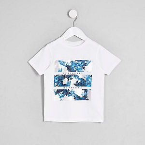 Mini - Wit T-shirt met 'handsome'-print voor jongens