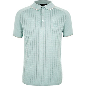 Boys light green sleeve grid polo shirt