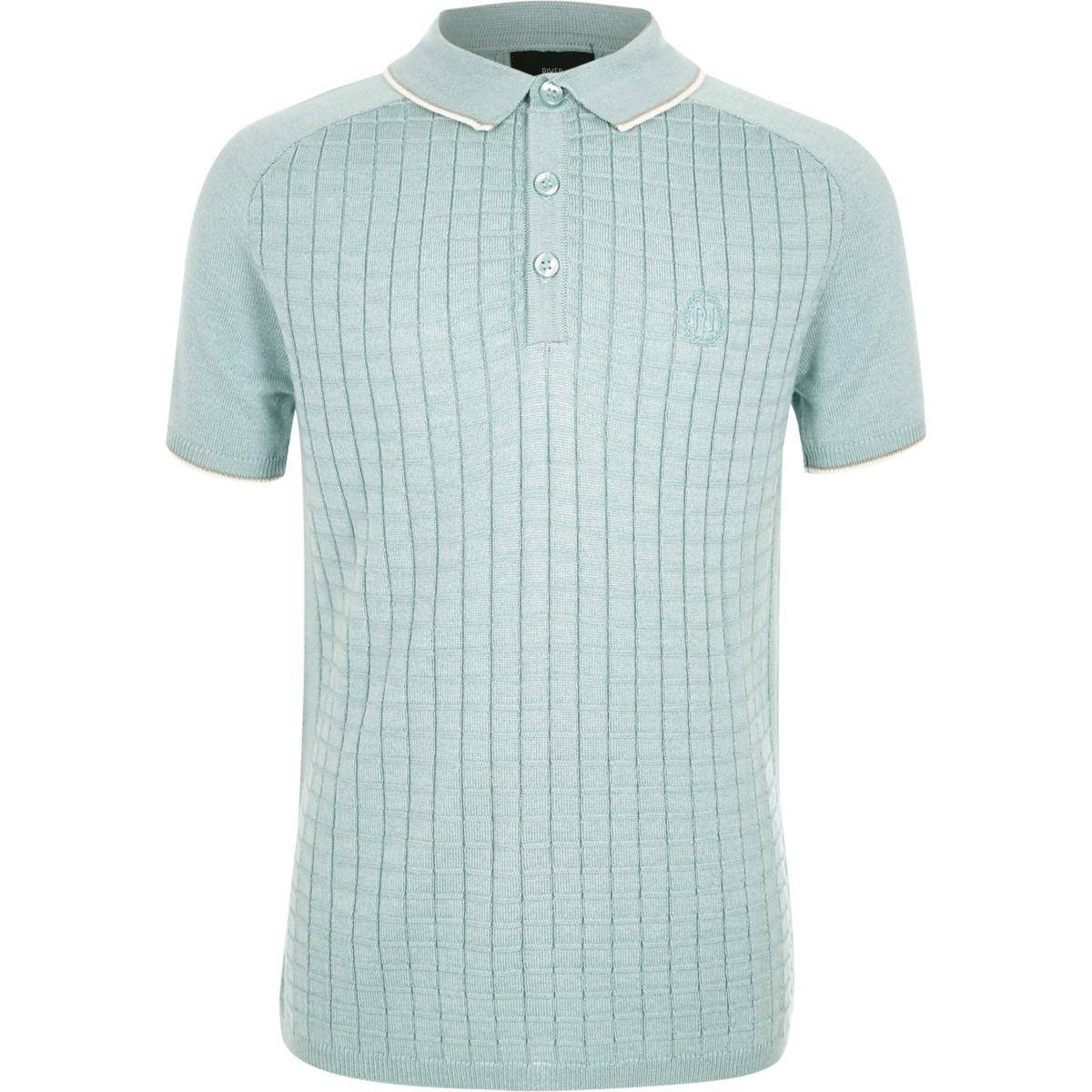 Boys light green sleeve grid polo shirt