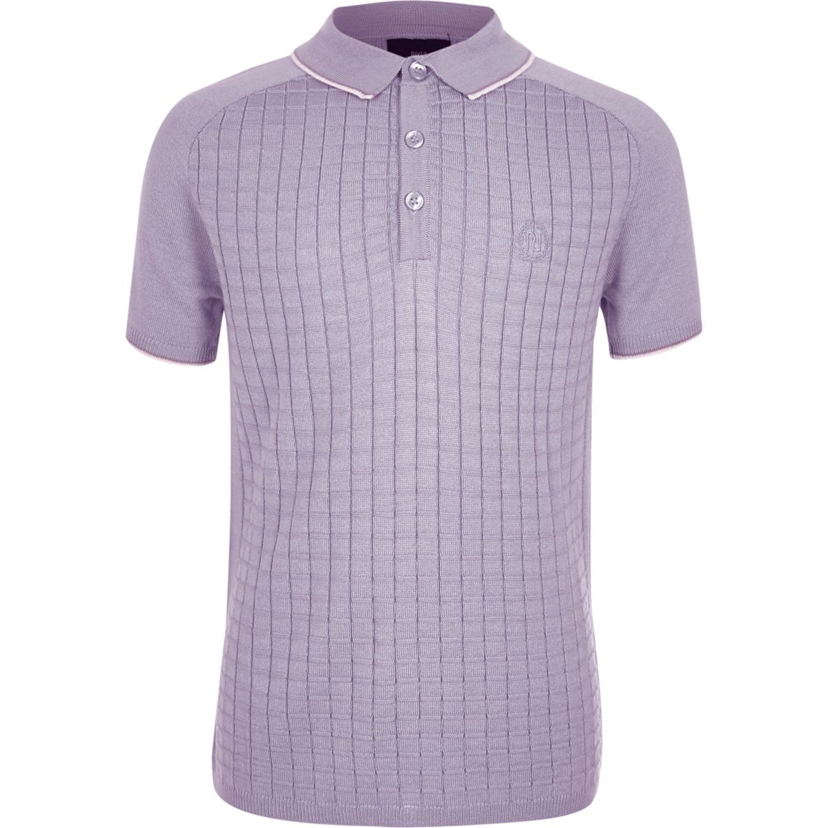 Boys purple short sleeve grid polo shirt