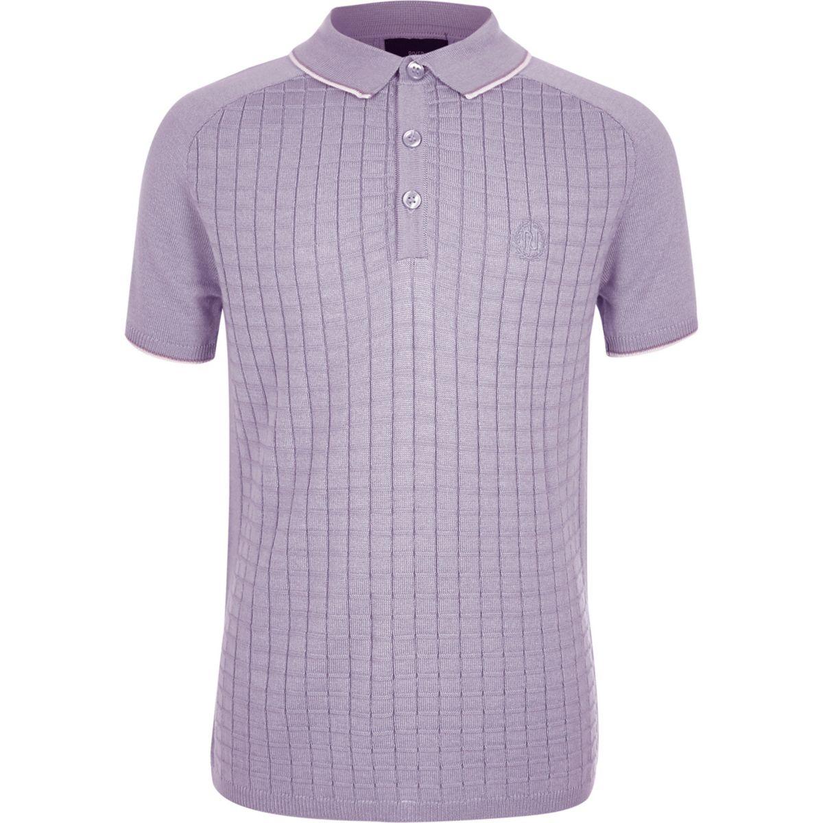 Boys purple short sleeve grid polo shirt