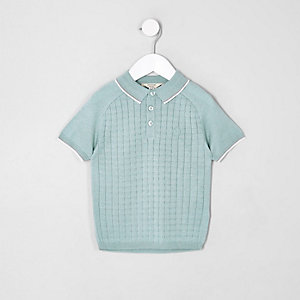 Mini boys light green sleeve grid polo shirt