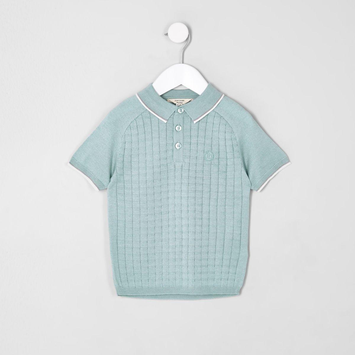 Mini boys light green sleeve grid polo shirt