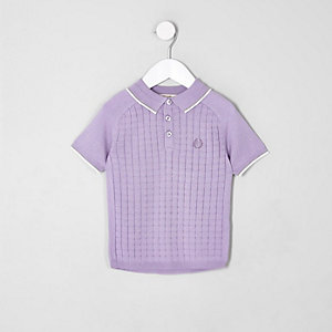 Mini boys purple sleeve grid polo shirt