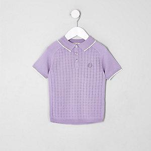 Polo quadrillé violet mini garçon