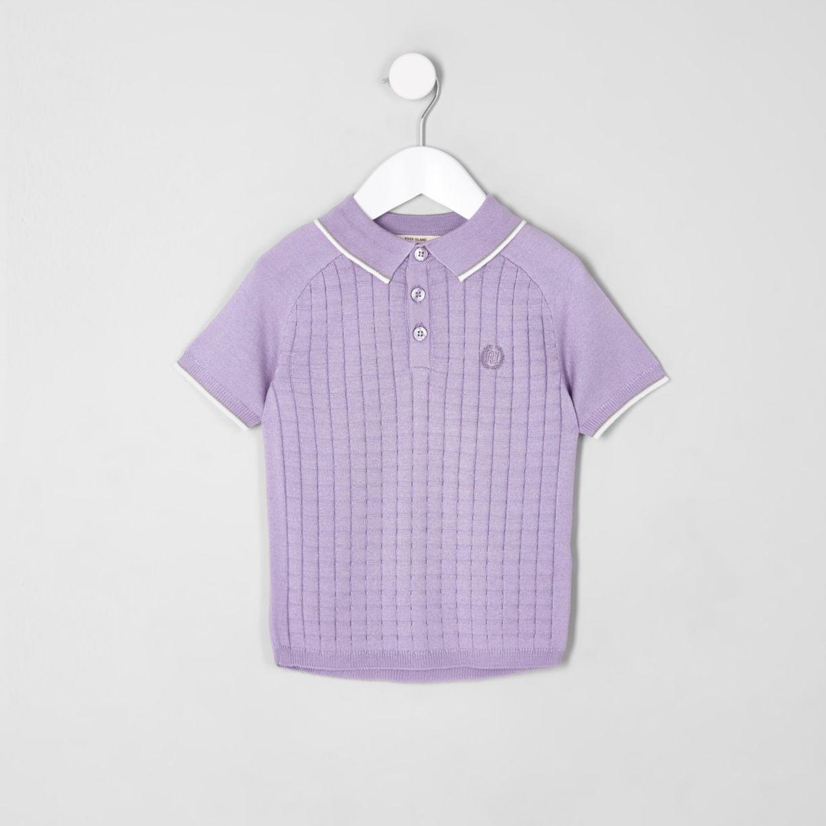 Mini boys purple sleeve grid polo shirt