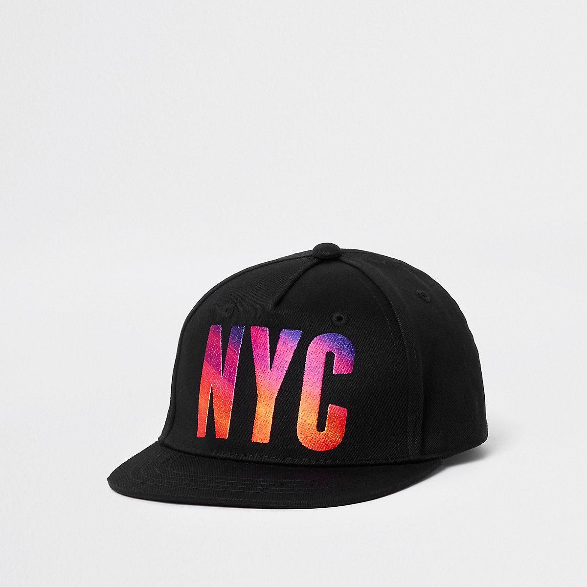 Mini boys black 'NYC' sunset flat cap