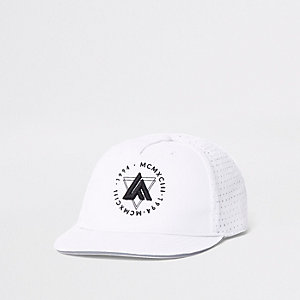 Mini boys white 'LA' embroidery flat cap