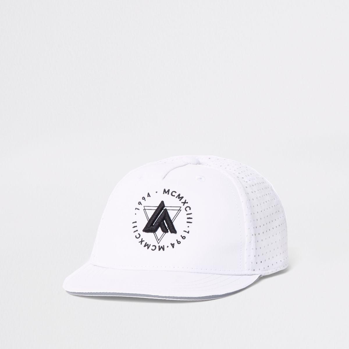 Mini boys white 'LA' embroidery flat cap