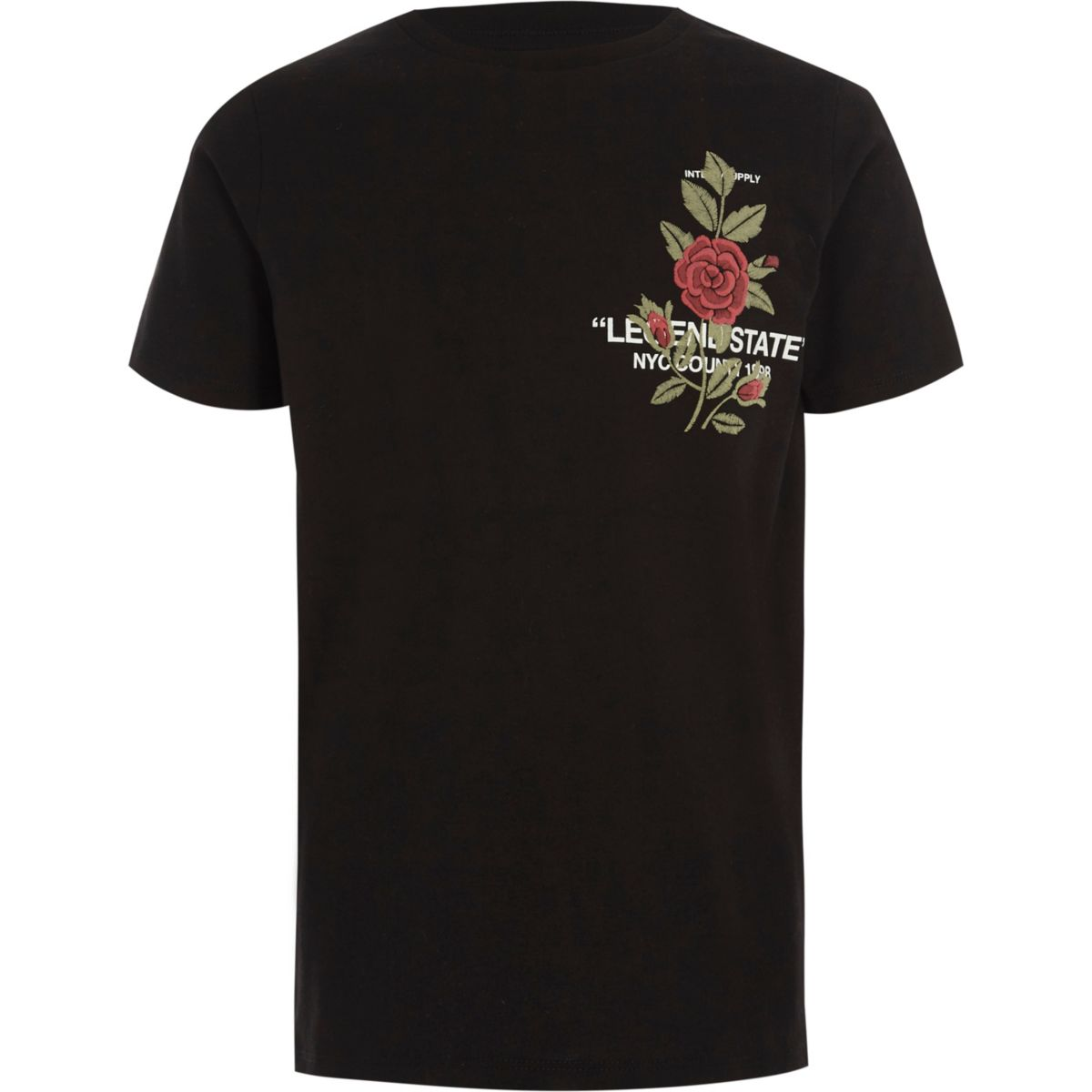 Boys black 'legend' floral print T-shirt