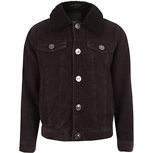 Boys black cord trucker jacket