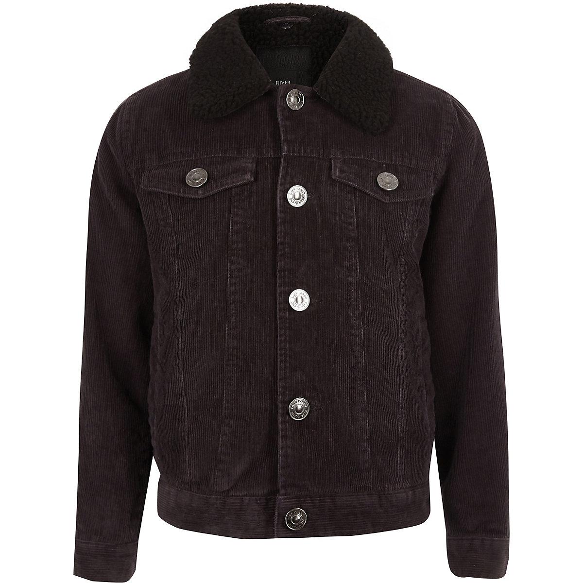 Boys black cord trucker jacket