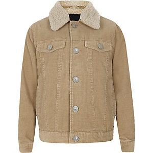 Boys light brown cord trucker jacket