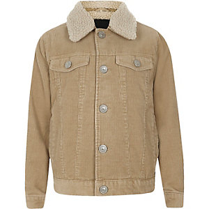 Boys light brown cord trucker jacket
