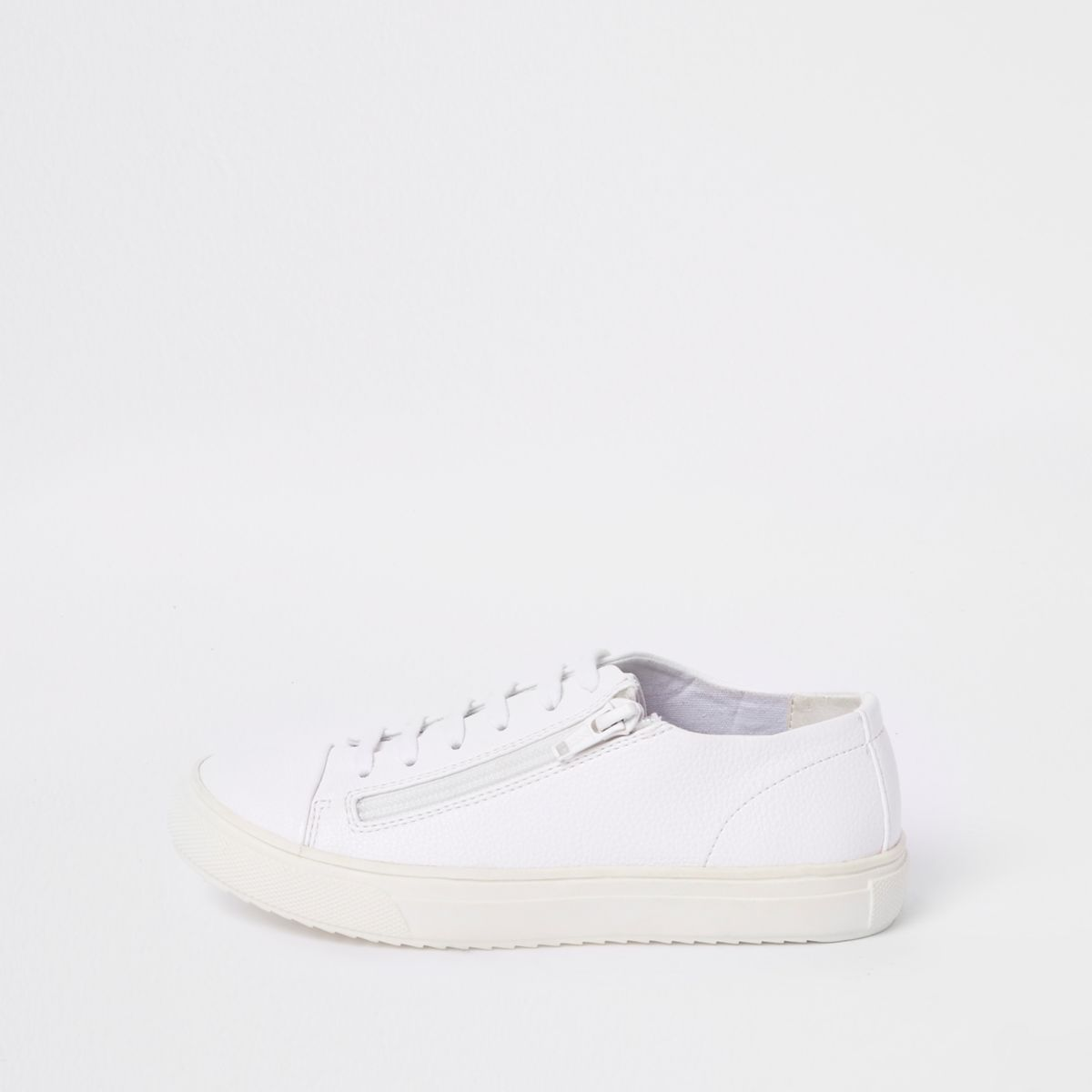 Boys white lace-up zip trainers
