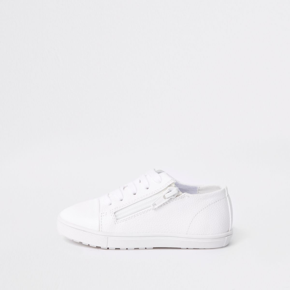 Mini boys white lace-up zip sneakers