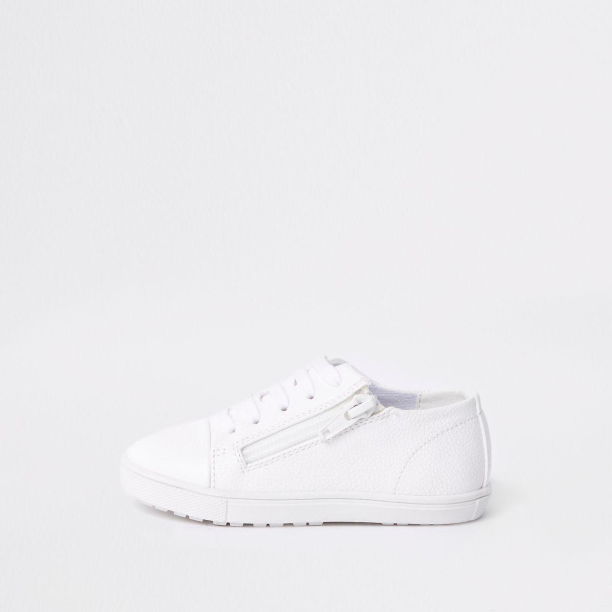 Baskets blanches à lacets et zip mini garçon
