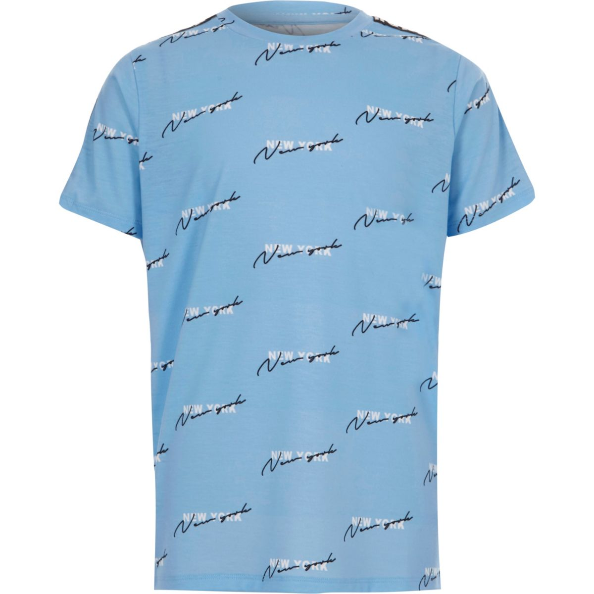 Boys blue 'NYC' print tape T-shirt