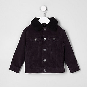 Mini boys black cord trucker jacket