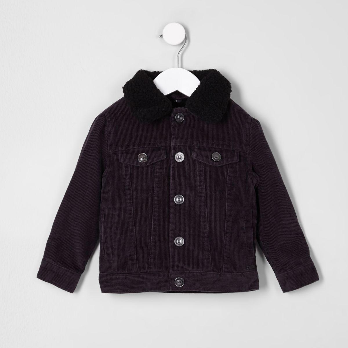 Mini boys black cord trucker jacket