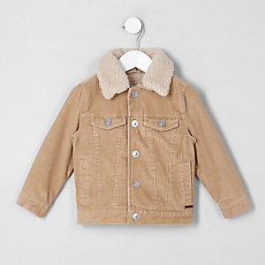 Mini boys light brown cord trucker jacket