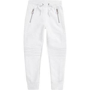 Pantalon de jogging blanc à empiècement style motard pour garçon