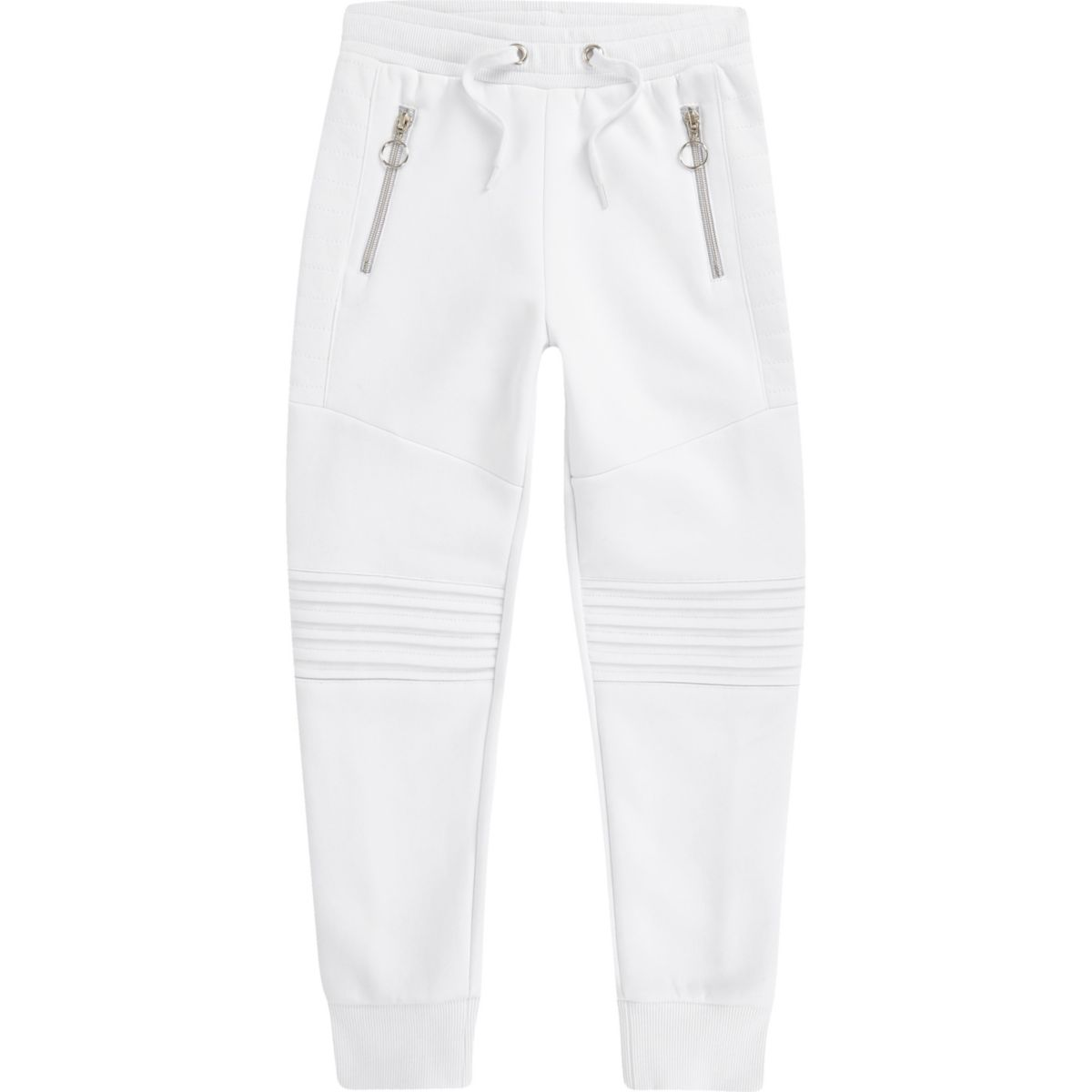 Boys white biker panel tracksuit bottoms